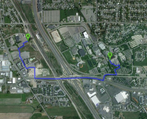 The current connection between Orem's commuter rail station and UVU campus.