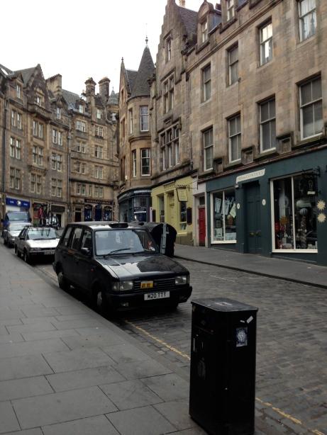 Street parking in high density Edinburgh.